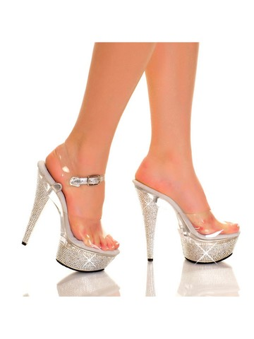 Clear 6 Diamond Platform Heels