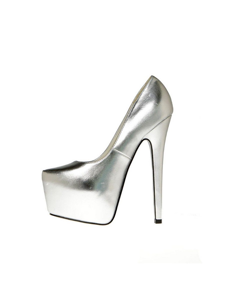 View larger image of Silver Snake Printed 6 Heel Pump with 2 Covered Platform Heels
