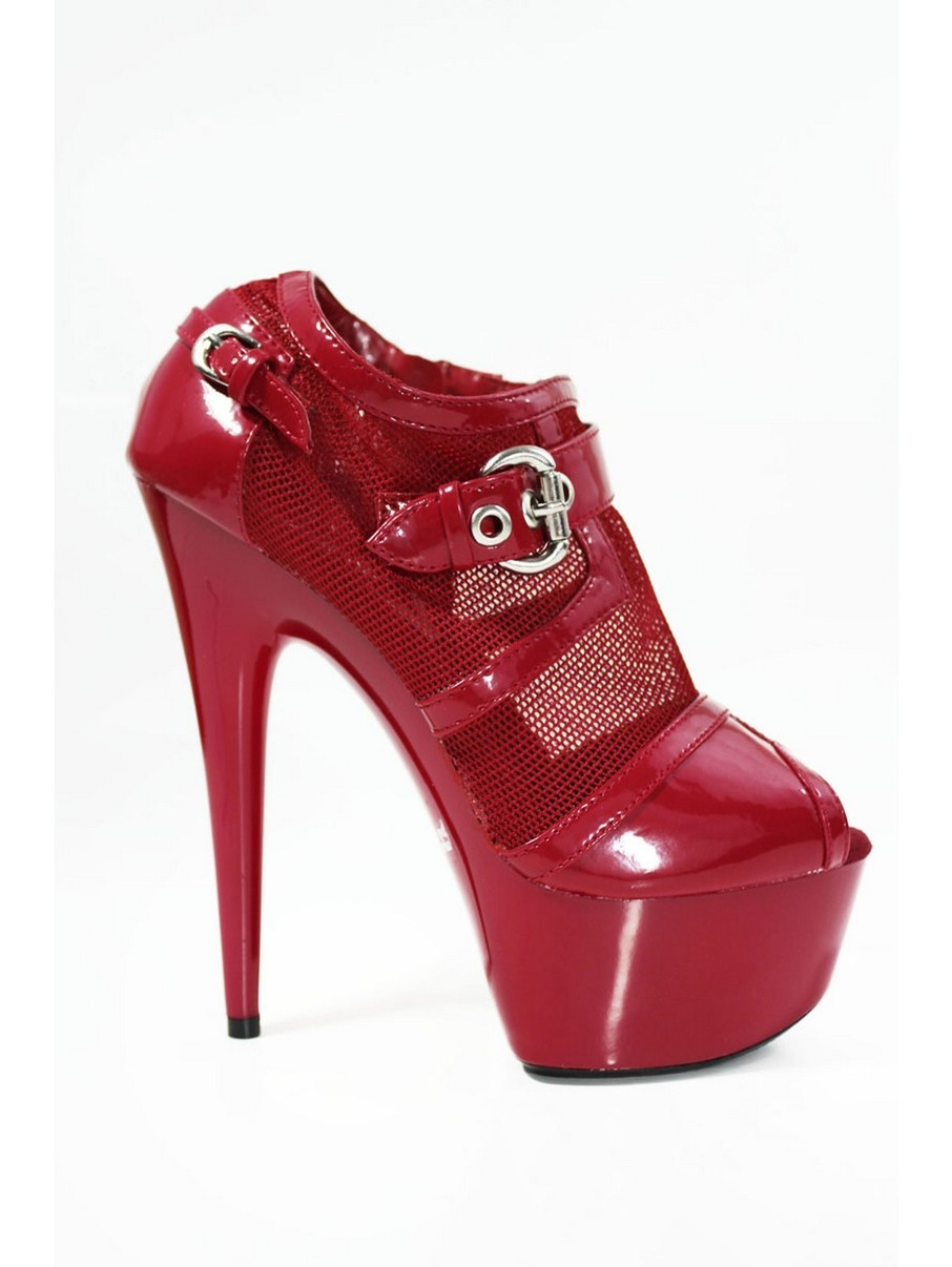 View larger image of Red 6 Mesh Open Toe Sexy Bootie with Buckle Detail