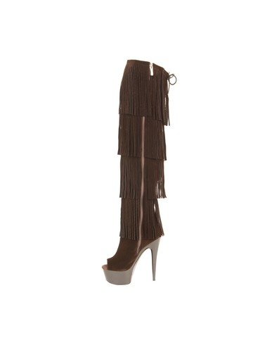 Micro Suede Open Thigh High 6 Brown Fringe Boots