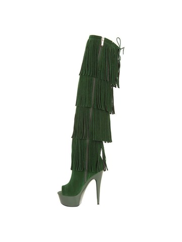 Micro Suede Open Thigh High 6 Green Fringe Boots