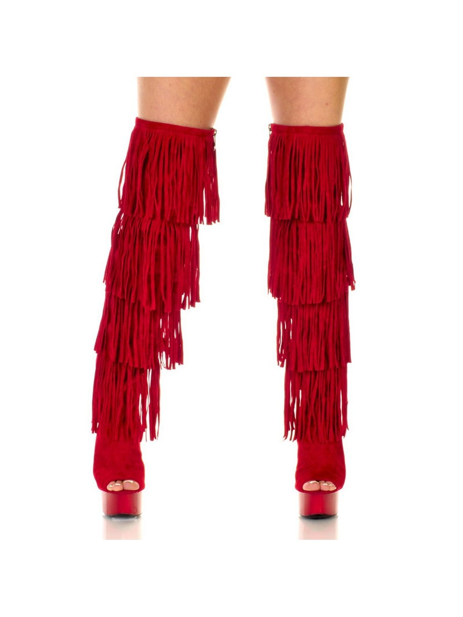 View larger image of Micro Suede Open Thigh High 6 Red Fringe Boots