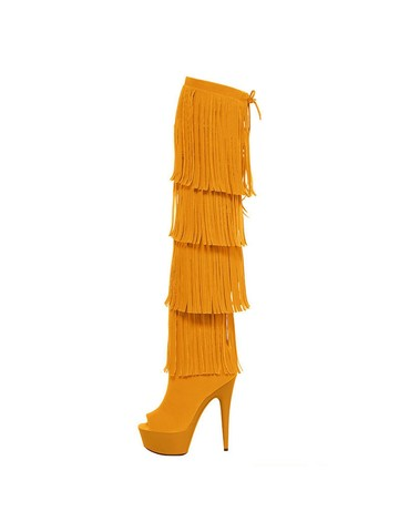 Micro Suede Open Thigh High 6 Yellow Fringe Boots