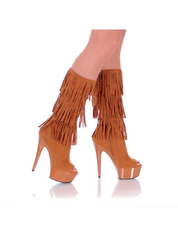 Western Style 6 Micro Suede Open Toe Brown Fringe Boots