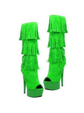 Western Style 6 Micro Suede Open Toe Green Fringe Boots