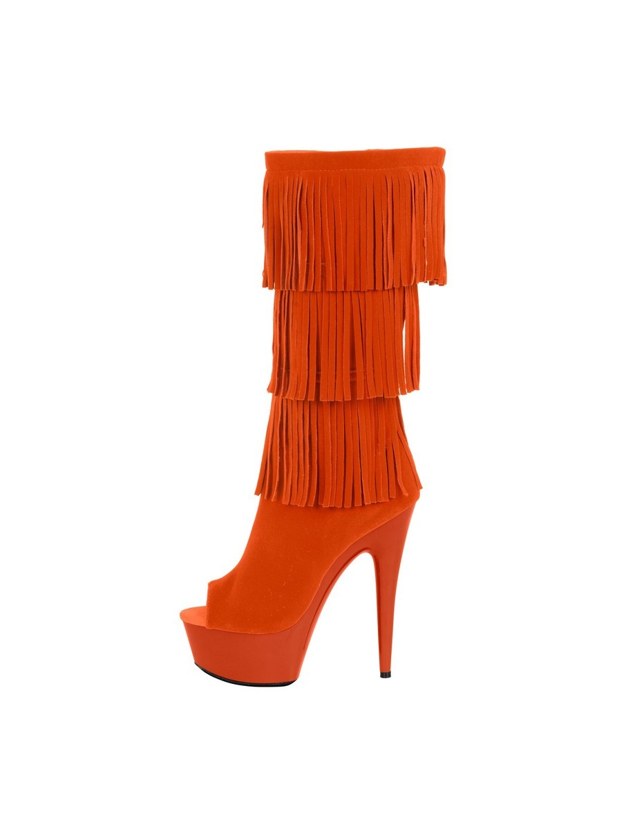 View larger image of Western Style 6 Micro Suede Open Toe Orange Boots