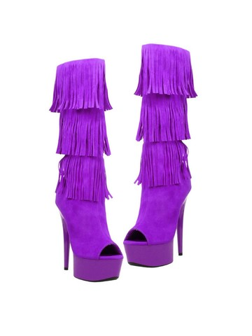 Western Style 6 Micro Suede Open Toe Purple Boots