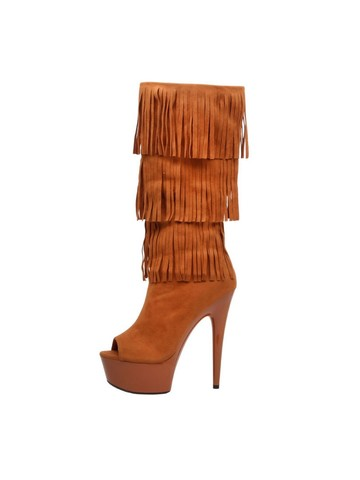 Western Style 6 Micro Suede Open Toe Camel Fringe Boots