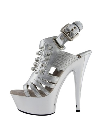 Silver 6 Open Toe Platform Sandal with Knot Detailing