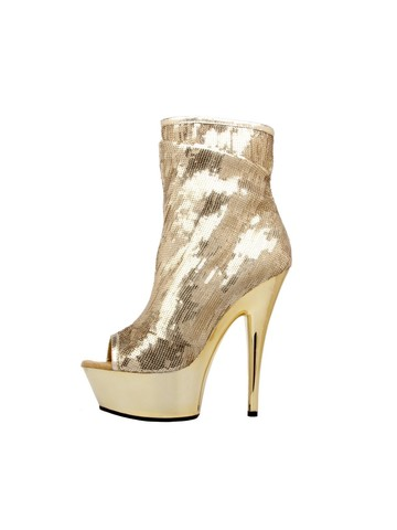 Open Toe Sequin 6 Gold Bootie with Side Zip