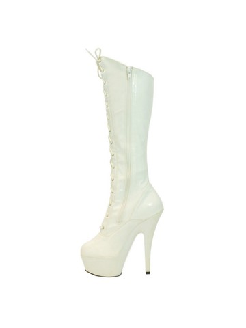 White 6 Below the Knee Platform Heels with Lace-Up Boot