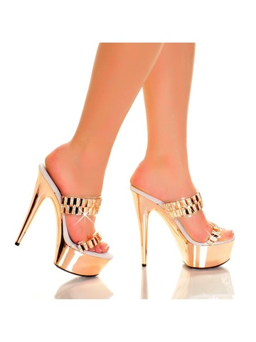 Blush 6 Platform Heels with Double Band Straps