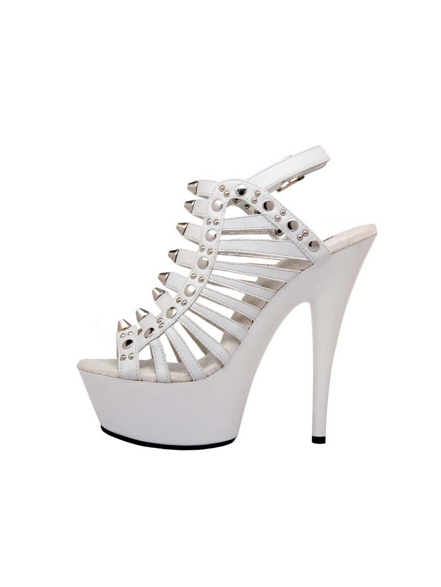 View larger image of Strappy White 6 Platform with Stud Detail and Ankle Strap
