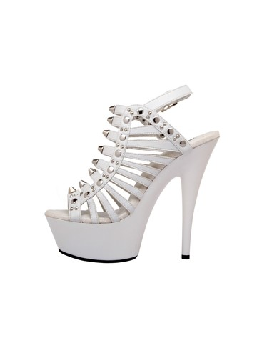 Strappy White 6 Platform with Stud Detail and Ankle Strap