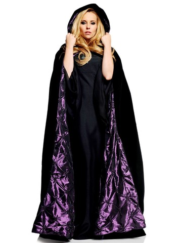 "Womens 63"" Deluxe Black Velvet w/ Purple Satin Adult Cape"