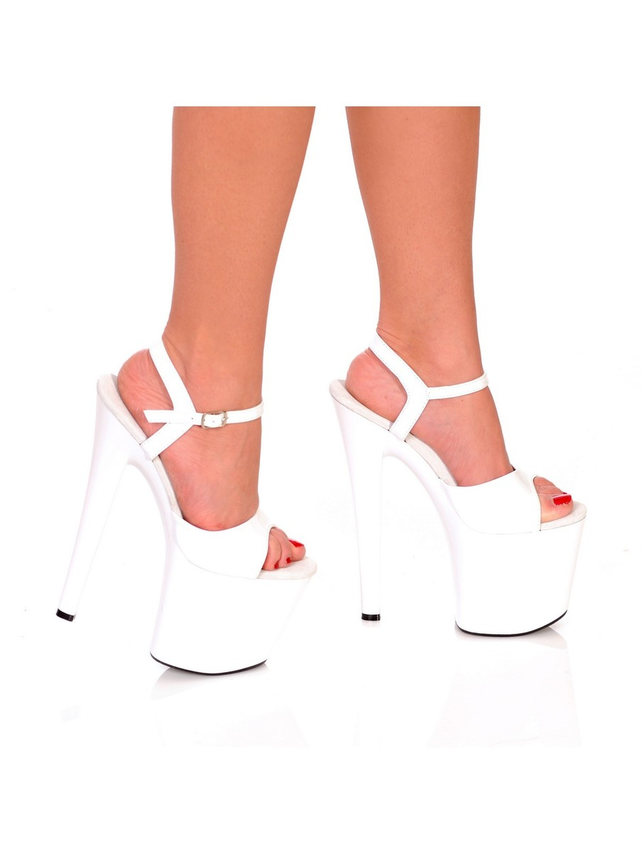 View larger image of White 7 Platform with Plain Vamp and Quarter Strap