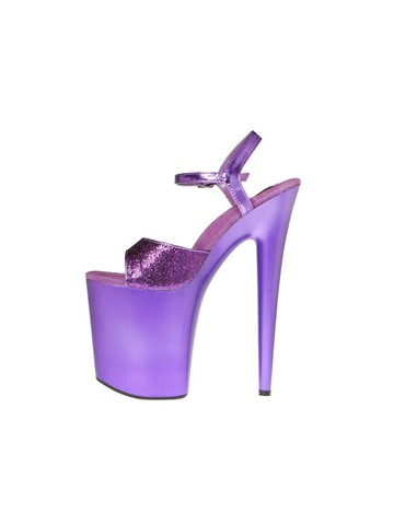 Purple 8 Platform with Glitter Upper and Quarter Strap