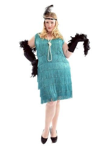 Aqua Fashion Flapper Plus Size Dress for Women