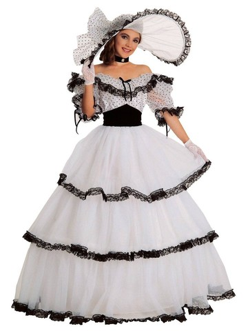 Womens Black And White Southern Belle Costume