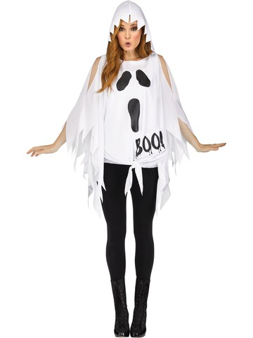 Ghost Glitter Poncho Costume for Women