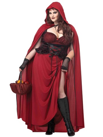 Womens Dark Red Riding Hood Curvy Costume