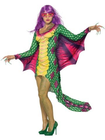 Dazzling Dragon Dress with Mask Costume for Women