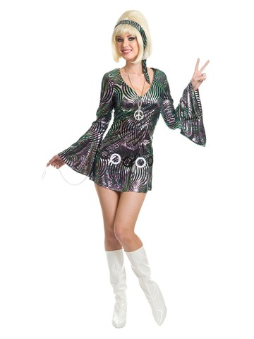 Psychedelic Swirl Disco Diva Costume for Women