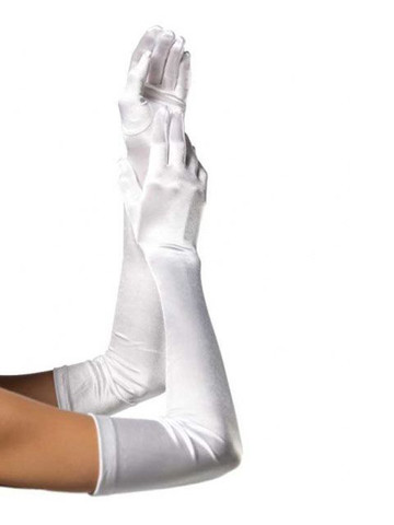 Women's Extra Long Satin Gloves - White