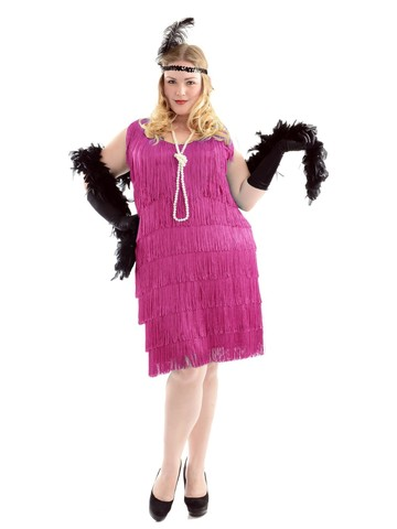 Fuchsia Fashion Flapper Plus Size Dress for Women