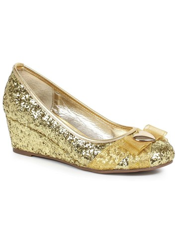 Women's Gold Glitter Princess Shoe with Heart Decor