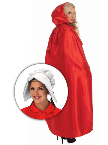 Red Maiden Cloak Costume With Bonnet