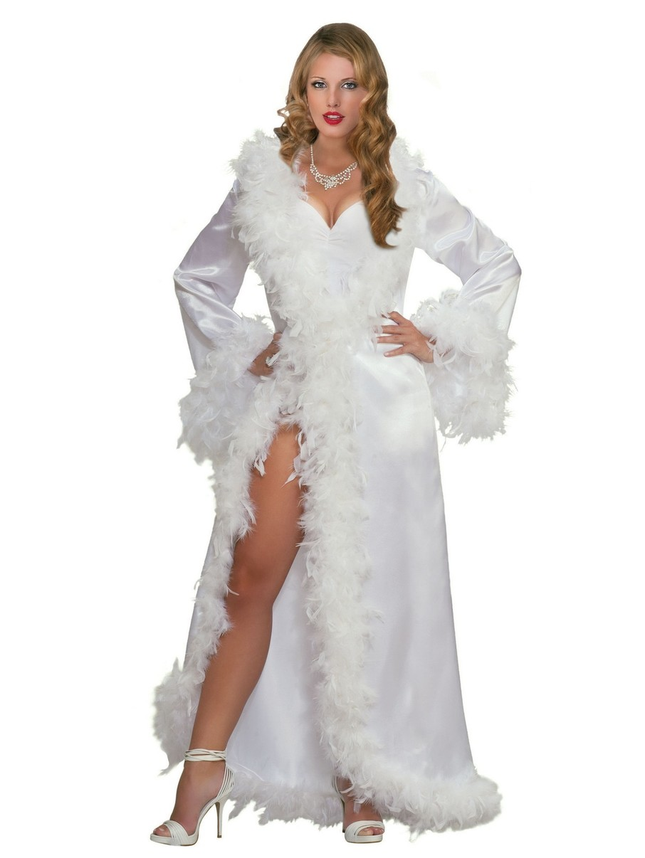 View larger image of Women's Marabou Satin Classic Robe