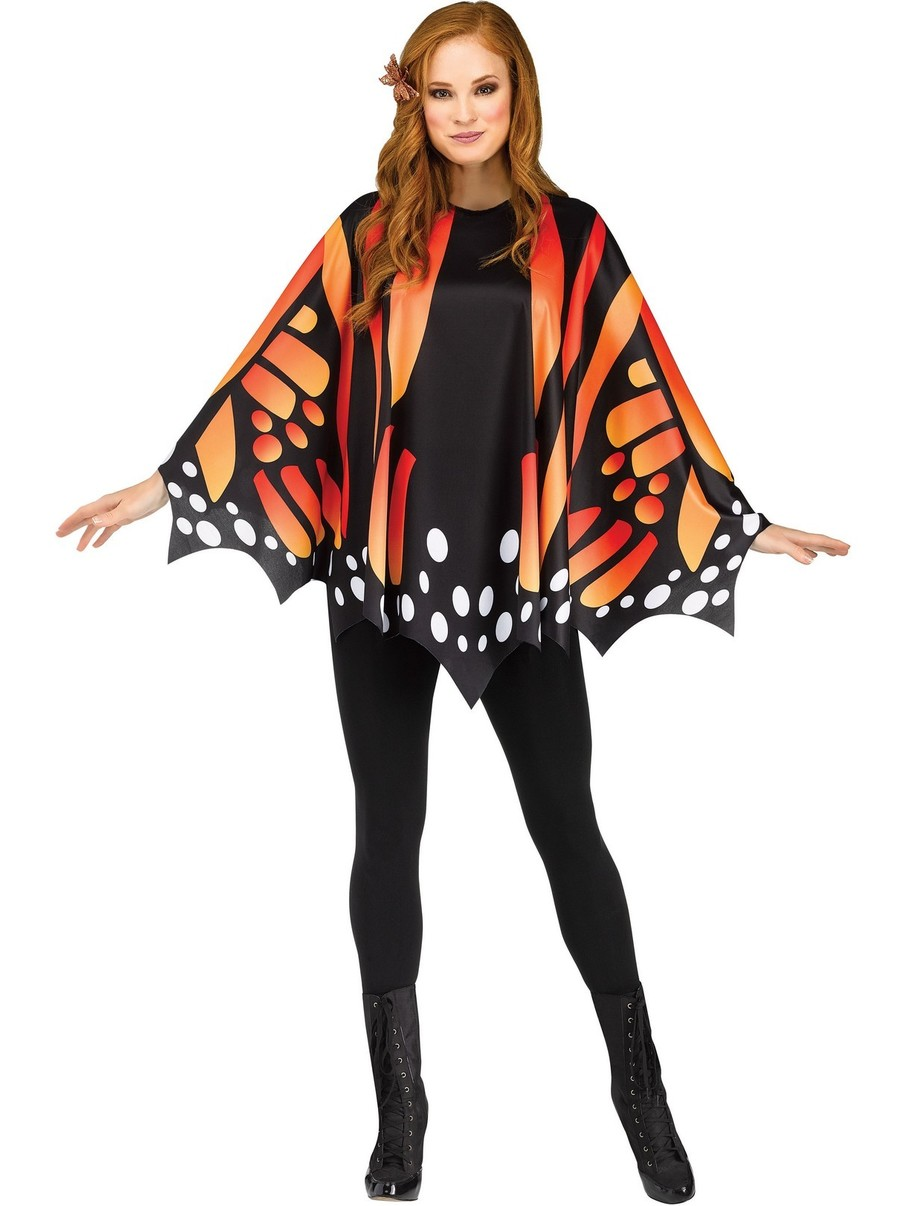 View larger image of Gold Monarch Butterfly Poncho Costume for Women