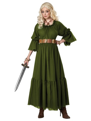 Olive Renaissance Peasant Chemise Costume for Women