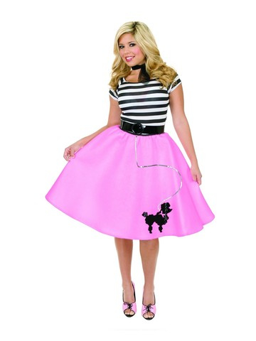 1950s Womens Poodle Skirt (Fuchsia)