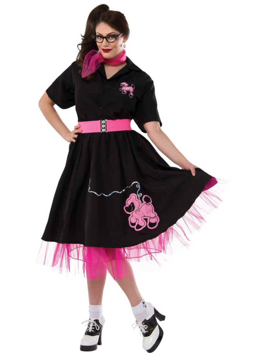 View larger image of Complete Poodle Skirt Outfit (Black & Pink) Adult Plus Costume