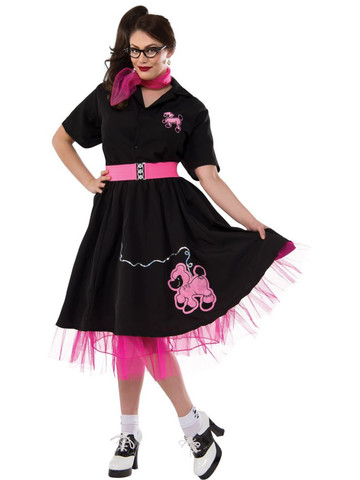 Complete Poodle Skirt Outfit (Black & Pink) Adult Plus Costume