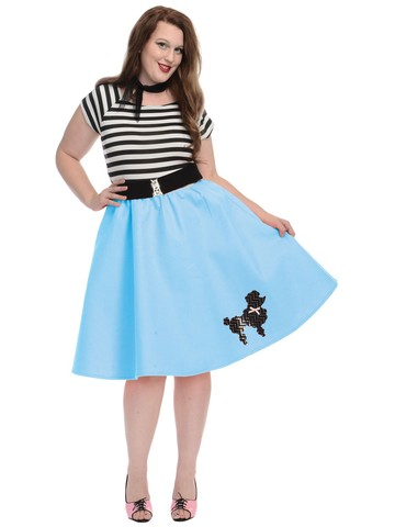 1950s Womens Poodle Skirt (Blue)