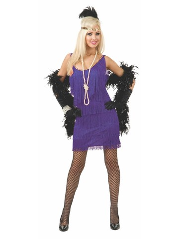 Purple Fashion Flapper Plus Size Dress for Women