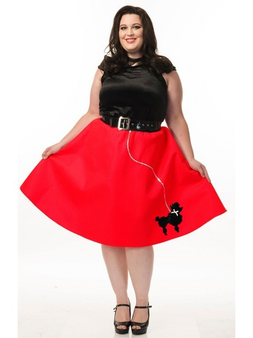 1950s Womens Poodle Dress Costume Set (Red)