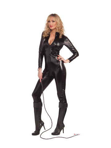 Womens Sexy Black Metallic Catsuit Costume