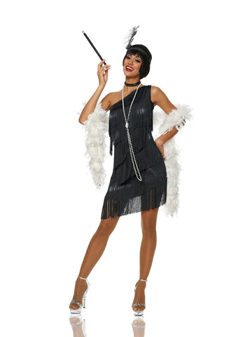 Womens Sexy Dazzling Flapper Black Costume