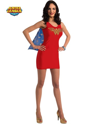 Womens Sexy Wonder Woman Rhinestone Tank Dress Costume