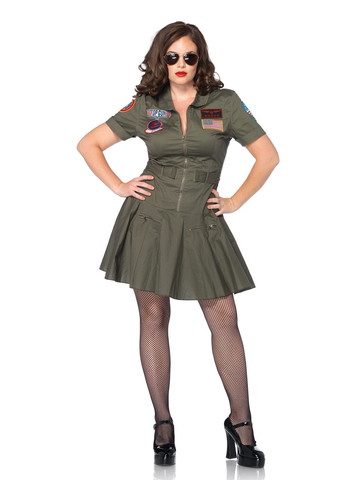 Women's Top Gun Flight Dress Plus Size Costume
